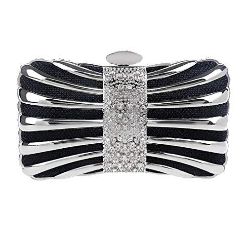 Luckywe Donna Pochette da Cerimonia Pochette Arco in metallo da Sera Sacchetto Elegante Borsetta da A17 Nero