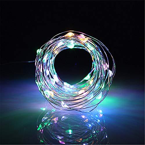 BUYERTIME 5M/16.4Ft 50 LEDs Cadena de Luces Impermeable Flexible de Alambre de Plata con Caja de Batería AA(Batería No Incluye) para Iluminación DIY, Navidad y Decoración Fiesta - RGB