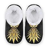 linomo Pantuflas doradas con patrón de piña para mujer, pantuflas de casa para interiores, zapatos de casa, zapatos de dormitorio, calcetines, color Multicolor, talla 38/39 EU