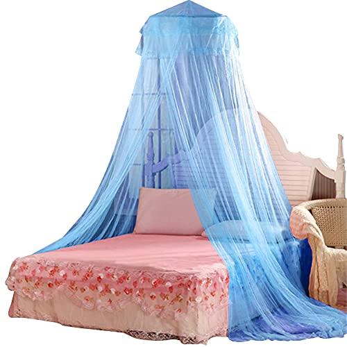 FANDE Mosquitera Cama, Mosquitera Cama Matrimonio, Mosquitera Viaje, Mosquiteras para camas Fácil de Instalación, Dosel para Cama para Cama Individual (Azul)
