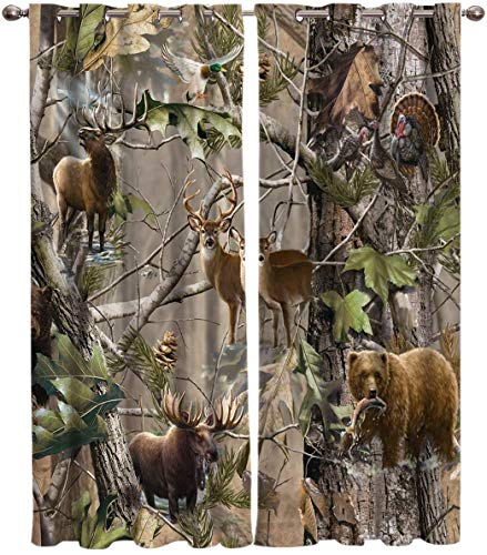 Window Panel Curtain Sets, Realtree Camo Rustic Deer Elk Bird Bear Home Drapes Decor for Living Room Kitchen Bedroom,, Set of 2 Panels, 1 Pair Curtains- (52x72inchx2)