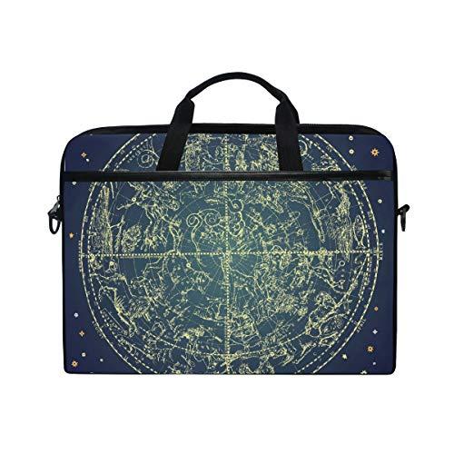 EZIOLY Vintage Zodiac Constellation Of Northen Stars Laptop Shoulder Messenger Bag Case Sleeve for 13 Inch to 14 inch Laptop