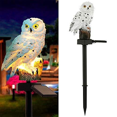 Owl Solar Lights Outdoor Garden LED Owl Shape LED Waterproof Solar Powered Garden Landscape Light for Patio, Yard, Party Decoration (White)