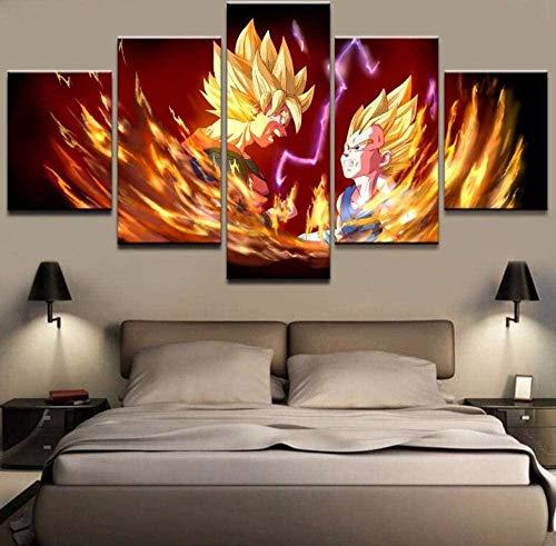 5 Piezas Lona Murales Cuadro Moderno Lienzo Dragon Ball Z Goku Vegeta Arte Pared Alta Definición Pintura Decorativa Home Dormitorio Óleo Lona Pintura Mural Regalos(Enmarcado)