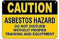 注意アスベストの危険性適切なトレーニング機器を行うブリキの看板壁の装飾金属のポスターレトロなプラーク警告サインオフィスカフェクラブバーの工芸品