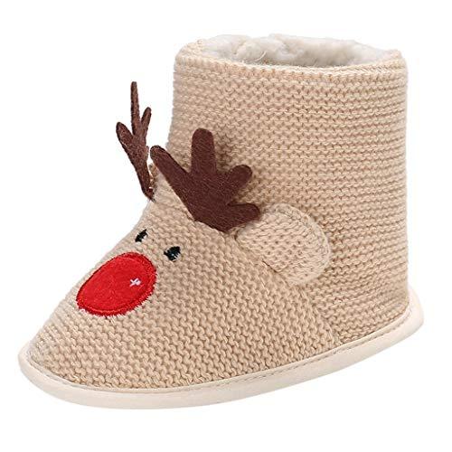 Lazzboy Unisex Baby Hausschuhe Weihnachten Kleinkind Kind Mädchen Jungen Herde Winter Warme Schneeschuhe Bootie Schuhe(Khaki,12)