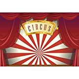 YongFoto 6x4ft Circus Birthday Party Backdrop for Photography Red Curtains Red and White Striped Photography Background Carnival Night Party Decor Baby Shower Clown Party Portrait Photo Booth Prop