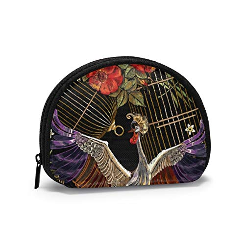 Sggual Crane Birds Golden Cage Und Rosen Vorlage Für Kleidung Münzgeldbörse Modische Geldbörse Mini Shell Aufbewahrungstasche Brieftasche Tasche Nettes Beutel Geschenk Für Kinder Mädchen Frauen