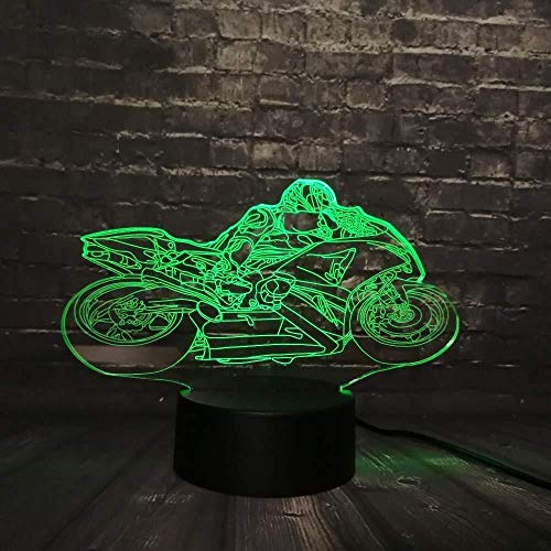 Luz de noche LED 3D, mesa de escritorio, colección de carreras de motos, RGB, 7 colores que cambian, juguete para niños, interruptor básico USB, regalo creativo