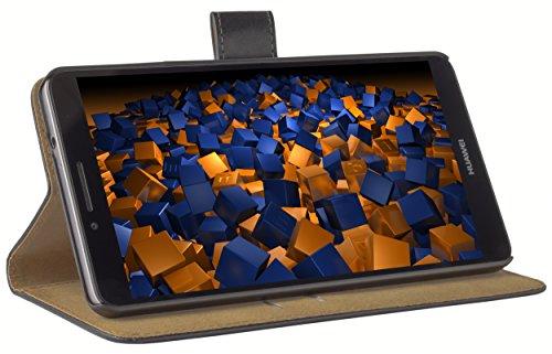 mumbi Echt Leder Bookstyle Case kompatibel mit Huawei Ascend Mate 7 Hülle Leder Tasche Case Wallet, schwarz