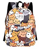 GK-O Neko Atsume Canvas Backpack Cute Cat School Shoulder Bag Laptop Bag