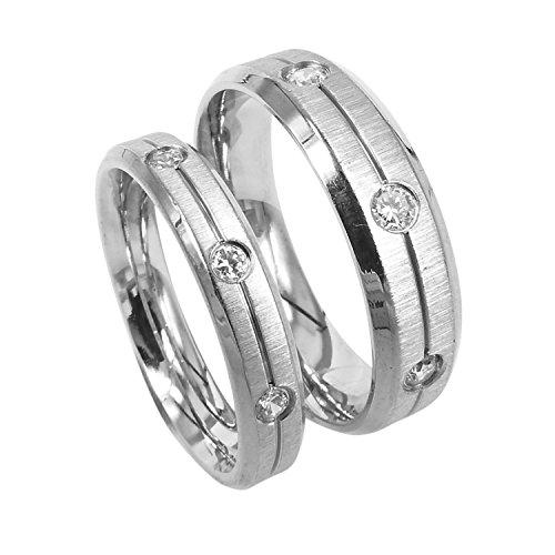 Everstone Paar Trauringe eingestellt Verlobungsringe Titan Silberne Ringes Größe: 47-76