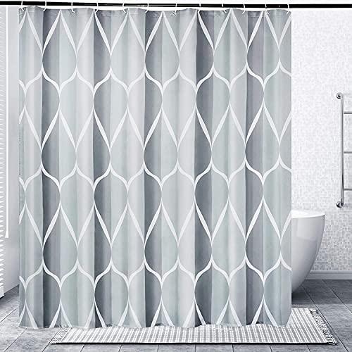 Duschvorhang, Anti-Schimmel Wasserdichter Duschvorhang 180x200 cm Waschbar Antibakteriell Duschvorhang Badewanne Vorhang mit 12 Duschvorhängeringen (Grau)