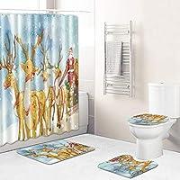 新しいクリエイティブクリスマスシャワーカーテンセット、男性女性と子供の好きなサンタクロース浴室トイレカーテンセット、防水非スリップ簡単にきれいな飾り santa5-50*80cm