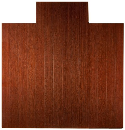 Anji Mountain Deluxe Bamboo Roll-Up Chairmat, 55 x 57-Inch, 8mm Thick, Dark Cherry