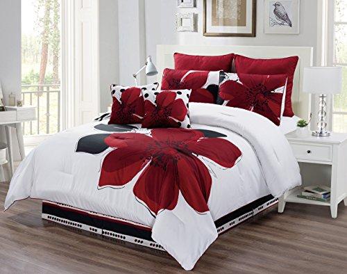 Grand Linen 8 Piece - Burgundy Red, Black, White, Grey Oversize Comforter Set Floral Fine Printed Queen Size Bedding