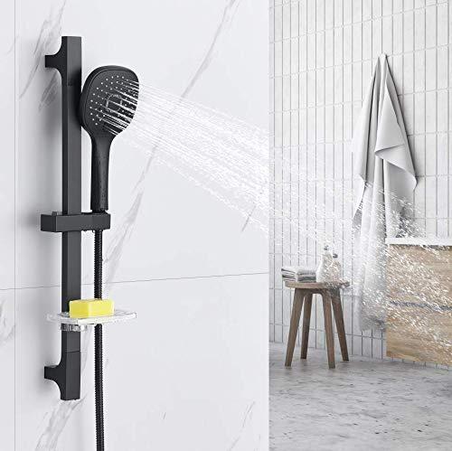 Auralum Brausestangenset Duschset Dusche Brausegarnitur Badewanne Brauseset Duschsäule mit 3 Strahlart Handbrause und Seifenhalter für Wannenbatterie oder Brausebatterie, Schwarz