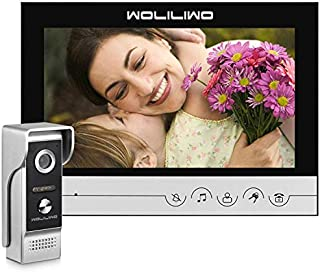 Video Door Phone,Wired Video Doorbell Kit,9 Inches Monitor and Metal Camera Video Intercom System for Home Office Apartment(Need Connection Line)