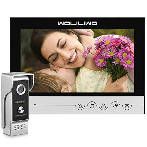 Wired Video Intercom System, Video Doorphone 9 Inches Monitor with Camera Wired Video Doorbell Kits Support Unlock, Monitoring, Dual-Way Intercom for House Office Apartment(Need Connection Line)
