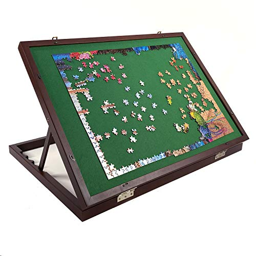 """Mary Maxim Adjustable Wooden Jigsaw Puzzle Table - Puzzle Tables for Adults - Puzzle Storage Board - Felt Mat 32"""" x 22"""" - Puzzle Holder & Organizer up to 1500 Pieces - Puzzle Accessories"""