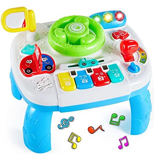 HERSITY Tavolo Multiattivita Bambini, Tavolino Musicale Neonato Volante Passeggino Gioco Musicale, Centro Attivita Giocattoli Interattivo Regalo per Prima Infanzia 18+ Mesi Bimbi 1 Anno