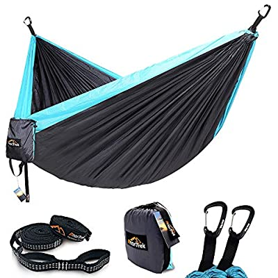 AnorTrek Camping Hammock, Lightweight Portable Single & Double Hammock with Tree Straps [10 FT/18+1 Loops], Parachute Hammock for Camping, Hiking, Garden, Yard (Grey&Blue, Double 78''W x 118''L)