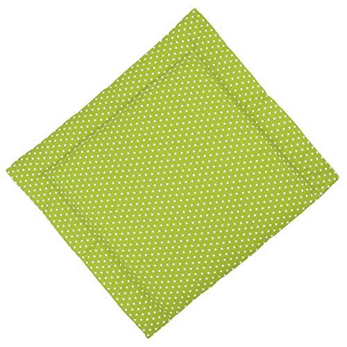 Sugarapple Wickelauflage 80x75 cm, ca. 3 cm dick mit Oberstoff aus 100% Baumwolle, innen weich und warm wattiert, doppelt abgesteppte Nähte und machinenwaschbar, apfelgrün Sterne weiß