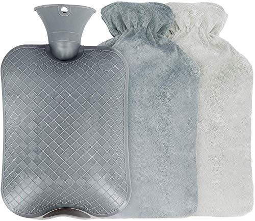 Bolsa de Agua Caliente, Funda de Suave Felpa Tejido extraíble y Lavable,Botella Agua Caliente Para la Cama Sofá Capacidad 2 Litros
