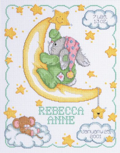 Janlynn Cross Stitch Kit, 14-Inch by 11-Inch, Crescent Moon Birth Announcement (Moon Designs Counted Cross Stitch)