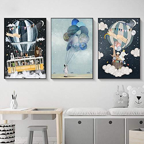 Kinderkamer canvas afdrukken poster astronaut ballon room schip beer olifant giraffe schilderij cartoon muurschilderingen voor kinderen babykamer 50x70cmx3 niet ingelijst