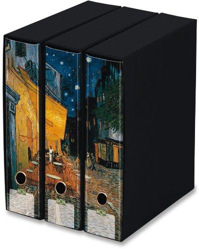 KAOS Archival 2ring Binders with slipcase, Spine 8 cm, 3 pcs Set - CAFÉ TERRACE AT NIGHT, VINCENT VAN GOGH - Dimensions: 26.8x35x29 cm