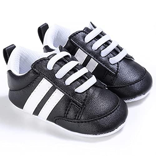 Klassisk sport mjuk sula PU läder flerfärgad spjälsäng baby mockasiner, baby skor, pojke flicka casual skor