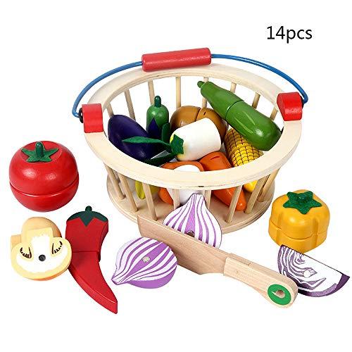 Warooma Magnetisches Holzspielzeug zum Schneiden von Obst, Gemüse, Lebensmitteln, Spielzeug-Set, Rollenspiel, Küchenspielzeug mit Korb für Kinder und Kleinkinder