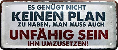 Il Suffit de ne Pas Avoir de Plan. Rahmenlos 1381 Plaque métallique décorative 28 x 12 cm