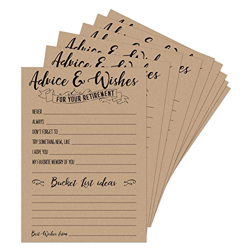 50 Retirement Party Advice and Wishes Cards | Retirement Party Decorations and Supplies for The Newly Retired | Guest Book Alternative