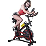 Merax Classic Indoor Cycling Bike w/ 4-Way Adjustable Seat, Large Saddle Cushion, LCD Monitor for Quiet Comfortable Home Cardio Workout 2020 Upgraded Belt Drive Stationary Bike
