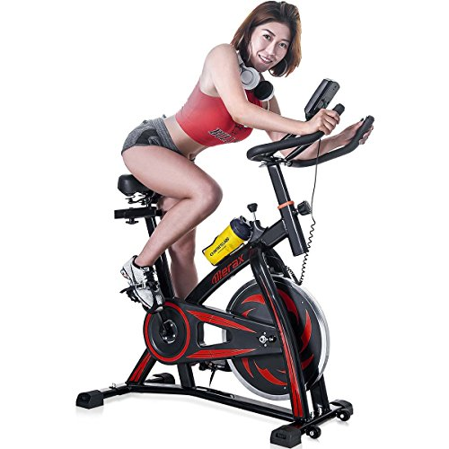 Merax Indoor Cycling Bike Trainer – Stationary Exercise Bicycle Fitness Equipment for Home Gym Workout (Red) belt Bikes Exercise flywheel indoor Merax quiet