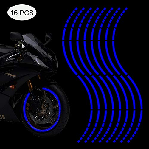 """Leasinder 18"""" Reflective Wheel Rim Stripe Decal Sticker for Motorcycle Wheels Car Cycling Bike Bicycle Night Reflective Safety Decoration Stripe Universal Reflective Rim Stickers (Style 2 Blue)"""