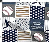 Spoonflower Fabric - Little Baseball Patchwork Gray Blue Wholecloth Cheater Quilt Top Baby Printed on Petal Signature Cotton Fabric by The Yard - Sewing Quilting Apparel Crafts Decor