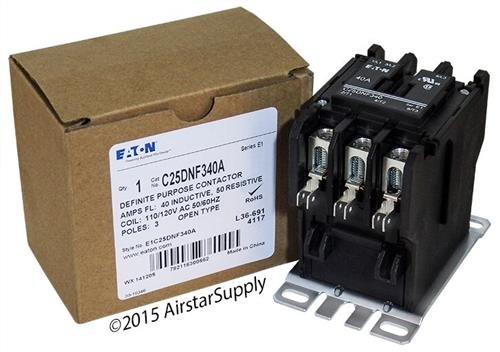 Replacement for Square D 8910DPA43V02 - Replaced by Eaton/Cutler Hammer C25DNF340A 50mm DP Contactor, 3-Pole, 40 Amp, 120 VAC Coil Voltage
