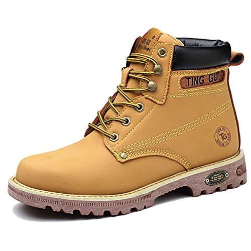 CHNHIRA Chaussure de Securité Homme Basket Securite Femmes Travail Bottes de Protection (EU43 Jaune Montantes)