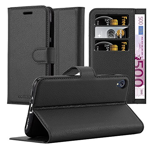 Cadorabo Hülle für Asus ZenFone LIVE / 3 GO in Phantom SCHWARZ - Handyhülle mit Magnetverschluss, Standfunktion & Kartenfach - Hülle Cover Schutzhülle Etui Tasche Book Klapp Style