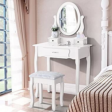 Makeup Vanity Table Set, Mecor Dressing Table with Mirror and 3 Drawers,Bedroom Vanity Set with Stool White