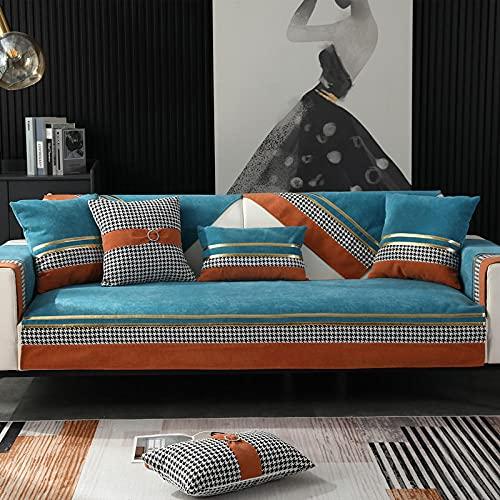Fsogasilttlv Fundas de sofás sofá Protector,Funda de cojín de Asiento de sofá de Pata de Gallo, Funda de Silla, Protector de sofá de Forro Polar extraíble Grueso, Azul Lago 43 * 83 Inch
