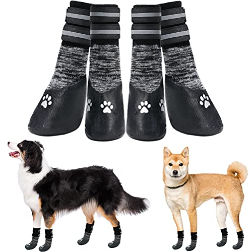 PUPTECK Dog Boots Waterproof - Anti-Slip Dog Socks with Reflective Strap, Pet Paw Protector Traction...