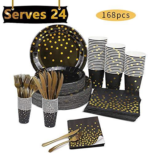 168 piezas de suministros de fiesta de color negro dorado