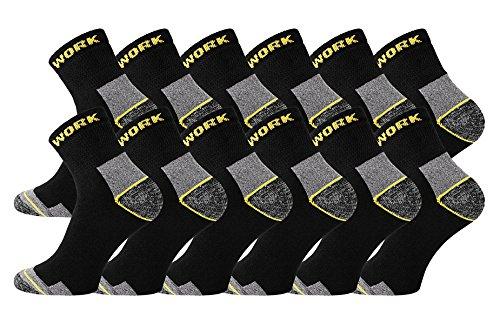 TippTexx24 6/9/12/15/18/21 Paar Arbeitssocken, Worker-Socks, normallang oder Kurzschaft-Sneakerform (39/42, kurz 12 Paar)