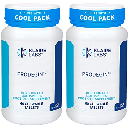 Klaire Labs Prodegin Chewable Probiotic - Powerful Oral Health Support 30 Billion CFU Blend with L. salivarius for Men & Women, Hypoallergenic, Post-Bariatric & GI Support (60 Tablets, 2 Pack)