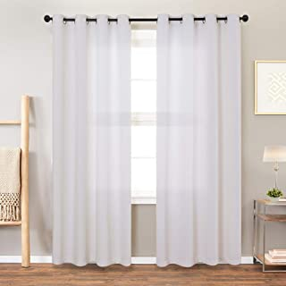Vangao White Curtains Linen Textured for Living Room Drapes for Bedroom 108 inches Long Light Reducing Window Treatment Set 2 Panels Grommet Top, 1 Pair