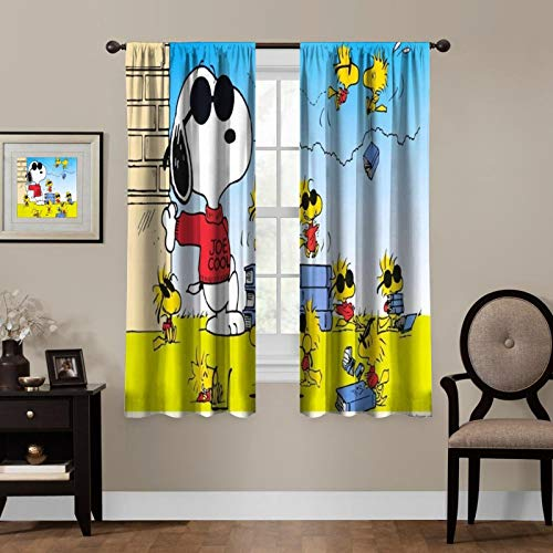 Cartoon Blackout Curtains,Snoopy Woodstock Wears Cool Sunglasses,Living Room Bedroom Window Drapes Panels Set of 2 with Rod Pocket,Soundproof Shade Curtains,for boys and girls Room Décor, 55x45 inches